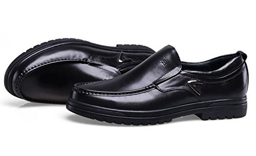 GRRONG Chaussures En Cuir Pour Hommes Loisirs Daffaires En Cuir Véritable Respirant Noir Brown Black