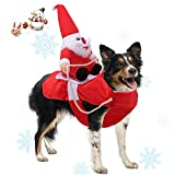 Runostrich Running Santa Dog Costume Christmas Pet Clothes, Dog Apparel Party Dressing up Clothing for Small Large Dogs Pet Funny Festival Holiday Outfit (S)