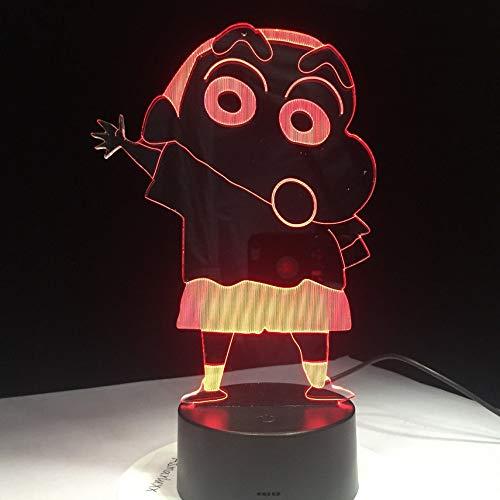 7 Farben Cartoon Kureyo Crayon Shinchan 3D LED Nachtlicht USB Kinder Tier Nachtlicht Weiche Cartoon Baby Kinderzimmer Lampe