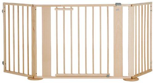 Geuther - Konfigurationsgitter 2762, Set bestehend aus Türelement, Verlängerung, Winkelelement mit Fuß, erweiterbar, Holz, großer Verstellbereich, natur, 100 - 180 cm