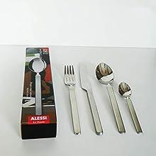 Alessi Dry Servizio di Posate 4 Pezzi, Acciaio Inossidabile 18/10 Lucido con Manico Satinato, 2.4 x 24.5 x 5.5