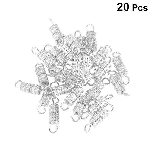 SUPROX 20 STÜCKE Schmuck Clever Verschluss, Kupfer Fassschraube Verschlüsse 4 * 15mm Silber Fassschraube Typ Verschluss für Armband Halskette machen Schmuck Verschlüsse