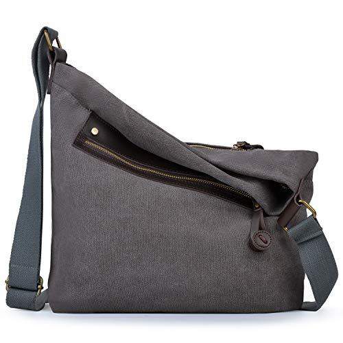 Canvas Umhängetasche, Coofit Schultertasche Damen Hochschule Stil Messenger Bag Retro Unisex Stofftasche