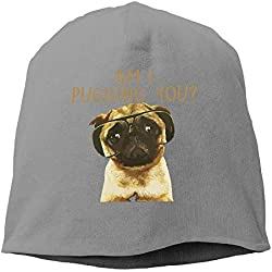 EJjheadband Am I Pugging You Pug Beanie Hats Knit Skull Caps Beanies For Men Women Pink
