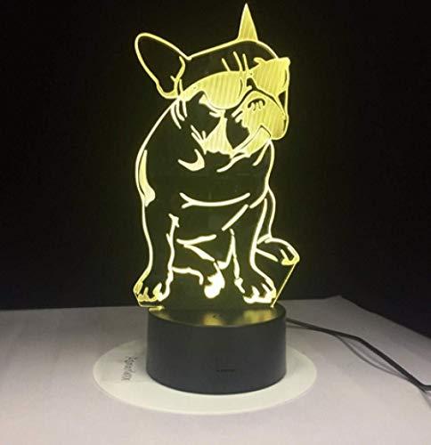 Bulldogge Mit Sonnenbrille 3D Led Nachtlicht Hund Dekorative Beleuchtung Farbwechsel Acryl Lampe Geschenk Für Hundeliebhaber 28