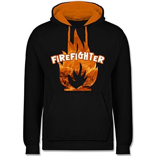 Feuerwehr - Feuer Flammen Firefighter - Kontrast Hoodie Schwarz/Orange