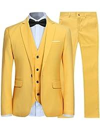 Costume Couleur Unie en cérémonie Mariage Veste Gilet et Pantalon Homme ... 17d9fb0d654