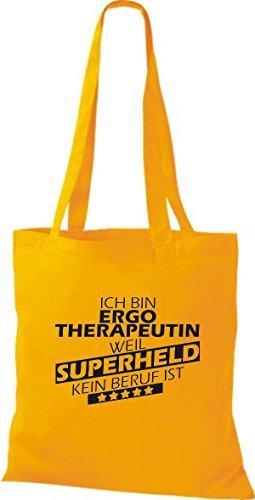 Shirtstown Stoffbeutel Ich bin Ergotherapeutin, weil Superheld kein Beruf ist gelb