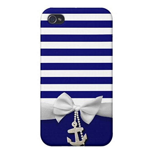 iPhone 6/6S custodia Nautical Blue Stripe White Ribbon & charms Graphic casi per iPhone 6