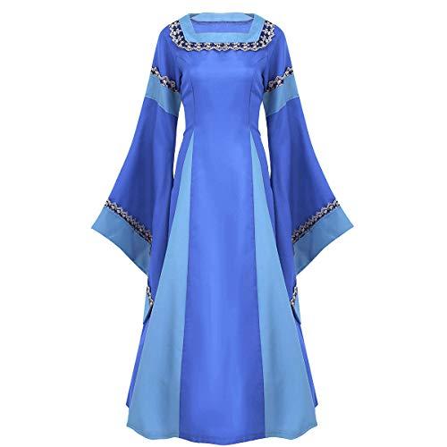 iixpin Damen Mittelalterkleid zum Schnüren Retro Kleid Rundhalskleider Halloween Kostüm Langarm Kleid Renaissance Gotisch Kleider rot, schwarz, blau, lila Blau ()