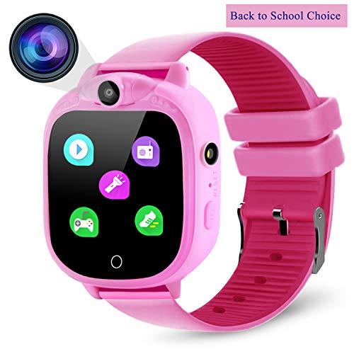 Prograce Kids Smartwatch Digitalkamera Uhr mit Spielen, Musik-Player, Schrittzähler, Schrittzähler, FM-Radios, Taschenlampen und 3,8 cm Touch-LCD für Jungen Mädchen Geburtstag Rosa