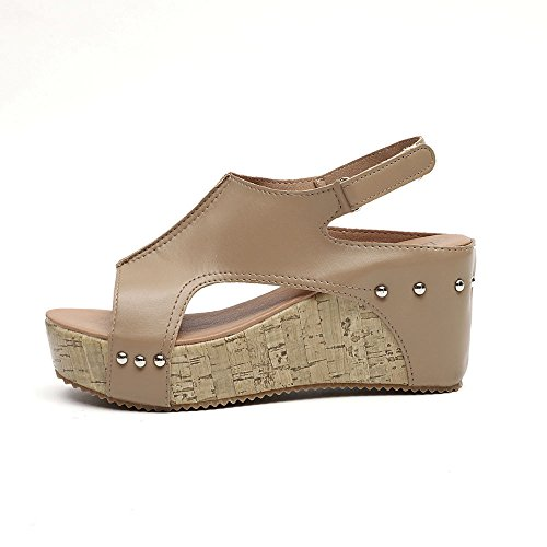 TUDUZ Retro Mode Womens Wedges Wohnungen Schuhe Plattform Thick Bottom Roman Sandals Weinlesedamenstroh gestreifte Zehenrömersandalen Mary Jane Halbschuhe(A-Khaki,37EU) - Womens Khaki Wohnungen