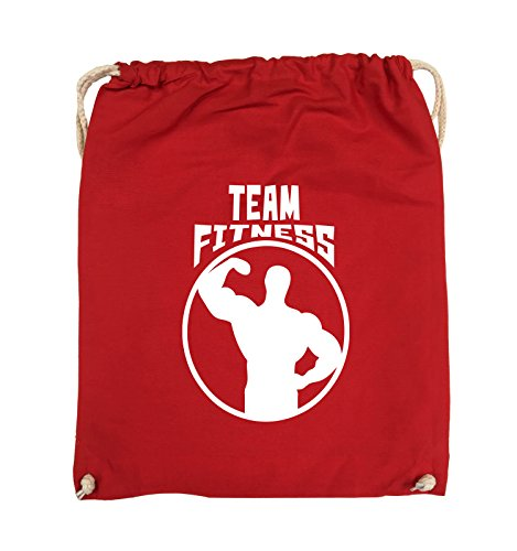 Comedy Bags - TEAM FITNESS - Turnbeutel - 37x46cm - Farbe: Schwarz / Pink Rot / Weiss