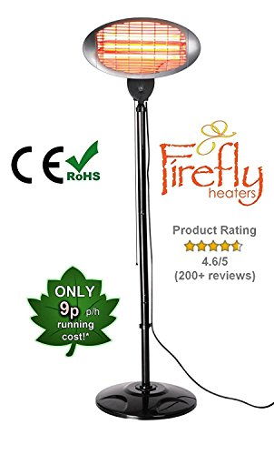 Firefly 2KW FreeStanding Water Resistant Infared Electric Garden Outdoor Indoor Patio Heater - 3 Power Settings