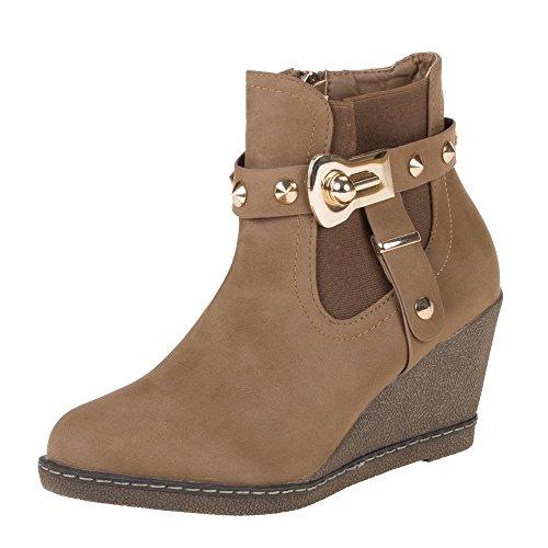 Damen Schuhe, Y-20-1, STIEFELETTEN Braun