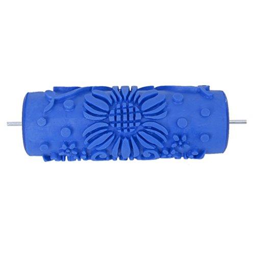 Sodial (r) 15 centimetri decorazione della parete rullo di vernice modello fiore goffratura pittura per la decorazione di macchine diy blu