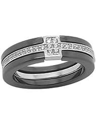 Ring 925 Silber Rhodié mit Ceramic Schwarz und Zirkonia weiß - Damen