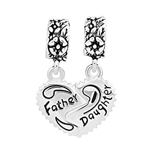 Uniqueen Father Mother Daughter Dangle Charms - Sterling Silver - fits Biagi & Troll bracelets i6KqiunX