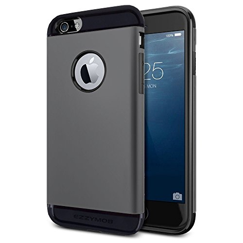 iPhone 6 Fall und iPhone 6 Plus Schutzhülle, ezzymob® Heavy Duty, Ultra Slim Hybrid Armor Hülle, stoßfest TPU Gummi und Polycarbonat für Apple iPhone 6/6S und Apple iPhone 6 Plus. iPhone 6 Plus (5.5-inches) Gray