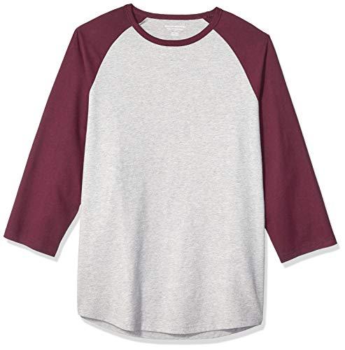 Amazon Essentials Regular-Fit 3/4 Sleeve Baseball novelty-t-shirts, Port/Light Gray Heather, US (EU XL-XXL) -