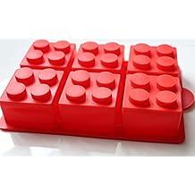 morethanart XXL - lego estilo cubitos grande de hielo molde para torta rojo para fiesta de cumpleaños
