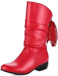 SHOWHOW Damen Schleife Strass Schuh Kurzschaft Stiefel mit Absatz Weinrot 43 EU