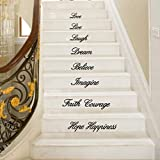 Hansee Live Laugh Love Dream Believe Imagine Faith courage Hope Happiness Aufkleber Removable Wall Stickers Stair Decor