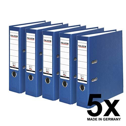 Falken PP-Color Kunststoff-Ordner 8 cm breit DIN A4 blau 5er Pack Ringordner Aktenordner Briefordner Büroordner Plastikordner Schlitzordner
