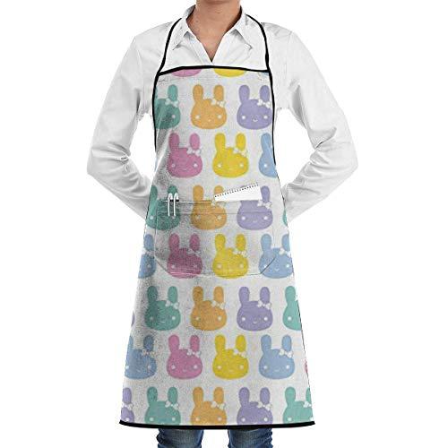 VAICR Kochschürze Küchenschürze,Apron Bib Pastel Rainbow Bunny Bows Apron,Women&Men Kitchen Bib Apron with or Cooking Baking Gardening,Easy to Clean (Pasteles Maschine)