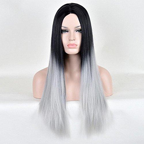 Färben matt fringe lebenslange glattes Haar schwarz und grau verlaufend Hochtemperaturdrahtperücke Frau