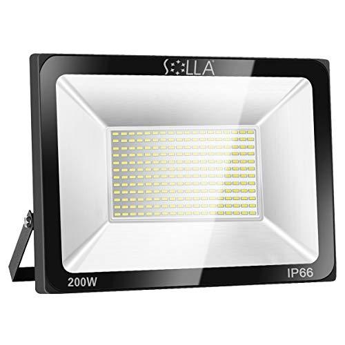 SOLLA 200W LED Flutlicht Outdoor-Sicherheitsleuchte, 1060W Äquiv, 3000K Warmweiß, 16000LM, Wasserdicht IP66, Außenwandleuchte, 24 Monate Garantie