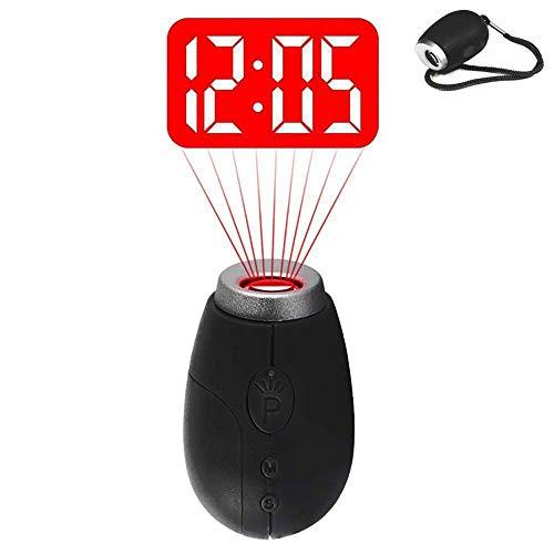QYLT Mini Despertador Proyector, Reloj Digital de Proyección portátil, Linterna...
