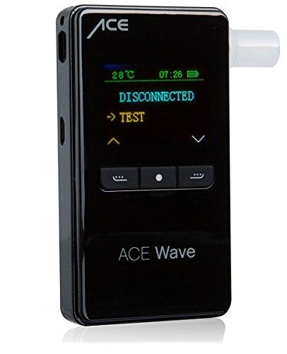 ACE Alkoholtester Wave | Mobiler Alkotester mit Polizeigenauer Sensorzelle | Bluetooth-Schnittstelle für Android & iOS