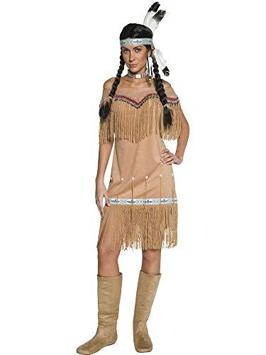 Deluxe Indian Kostüm Womens - shoperama Indianerin Damen Kleid Indian Lady Schulterfrei Squaw Fransen Perlen Federn Muscheln Karneval Fasching Verkleidung, Größe:XL