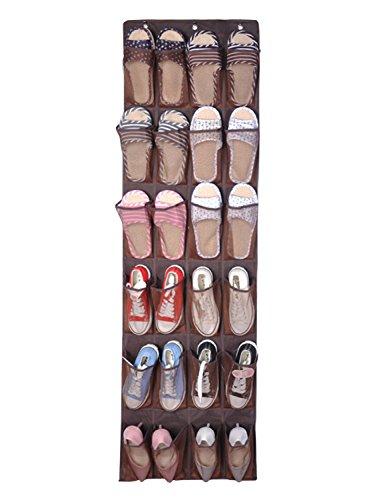 dyss 24Taschen Über der Tür Schuh Lagerung, hängenden Organizer Racks Tidy Organizer für Schrank, braun, Einheitsgröße (Braun-wand-tasche)