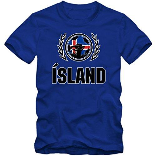 Island EM 2016 #2 T-Shirt | Fußball | Herren Fanshirt |Trikot | Nationalmannschaft | S-5XL, Farbe:Blau (Royalblue L190);Größe:XXL