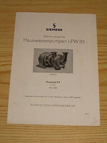 Siemens Selbstabsaugende Hauswasserpumpen LPW 33