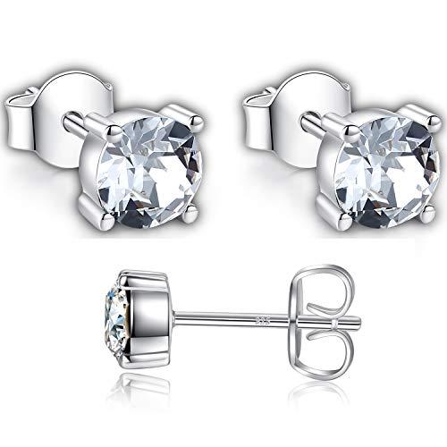 Damen Ohrstecker 925 Silber Runde mit Clear Kristall aus Swarovski Ohrringe Nickelfrei Ohrstecker (Swarovski-kristall-ohrringe Ohrstecker)