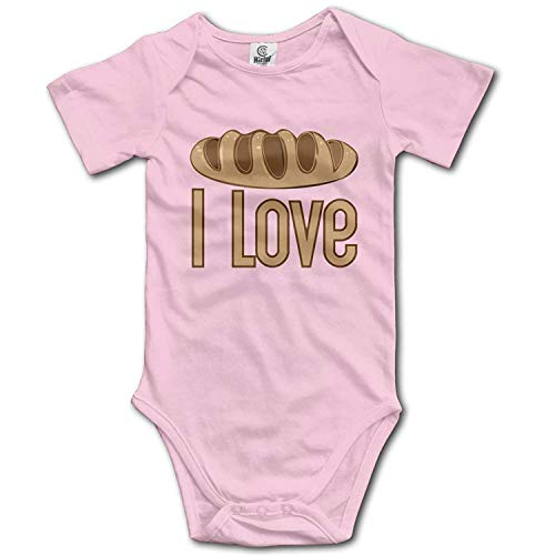 ARTOPB Baby Climbing Clothes Set I Love Bread Bodysuits Romper Short Sleeved Light Onesies,0-3M