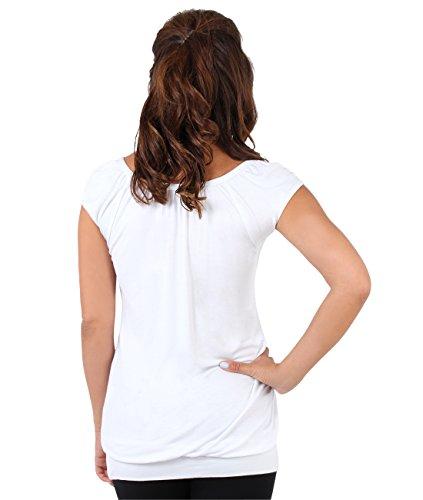 KRISP® Femmes Haut Tunique Uni Col V Casual Sexy Manches Courtes Top Grand Taille Blanc