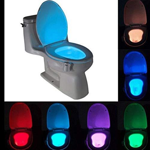 FCX-LIGHT Toilettenlicht WC Led Nachtlicht für die Kloschüssel Lustiges Bewegung Sensor Aktiviert Toilette Licht für Toilettensitze Badezimmerzubehörbeleuchtung 8 Farben Wechselnde,White