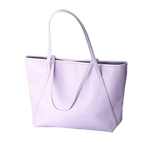 Sac à main, FeiTong Simple d'hiver de plus grande capacité en cuir PU Femmes Messenger Bag (Pourpre)
