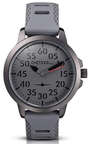 Chotovelli - Herren Pilotenuhr -3D Zifferblatt- Militär Silikonband 33.3