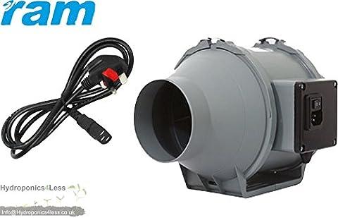 4 5 6 8 inch RAM Inline Mixed Flow UK Plug Hydroponics Grow Fan upto 840m3/hr (100mm 4