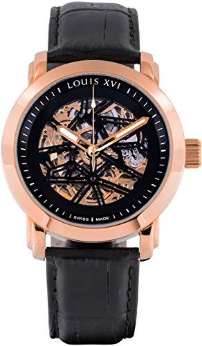 LOUIS XVI Herren-Armbanduhr Versailles Rosegold Schwarz Automatik Skeleton Analog Leder Schwarz 664 -