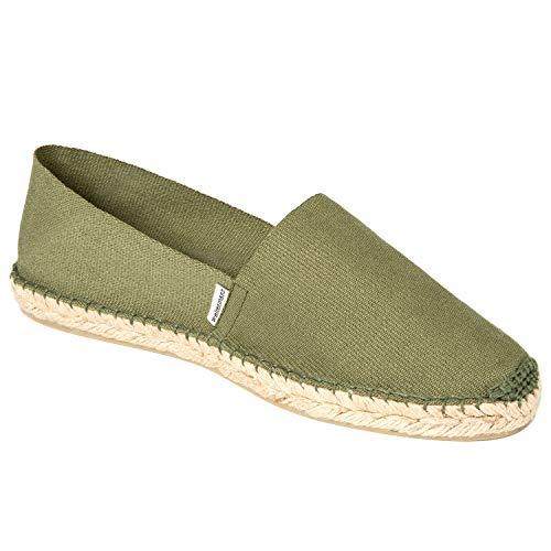 weltenmann Herren Slip-on Espadrilles aus Baumwolle mit Schuhbeutel, Olive, 42 | Handmade in Spain -