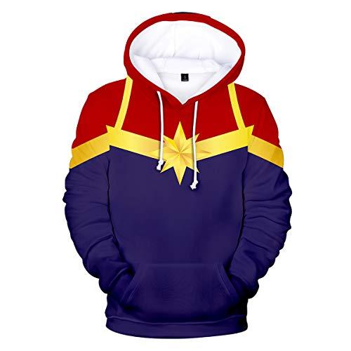 W&TT Kinder 3D HD Print Hoodie Sweatshirt Captain Marvel Cosplay Kostüm für Jungen und Mädchen,D,140