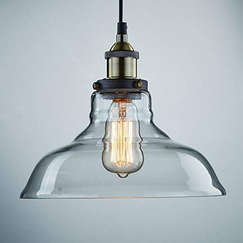 Louvra Lampada a Sospensione Stile Edison Vintage Industriale Lampadario da Soffitto Paralume in Vetro Attaco E27 (lampadina non inclusa)