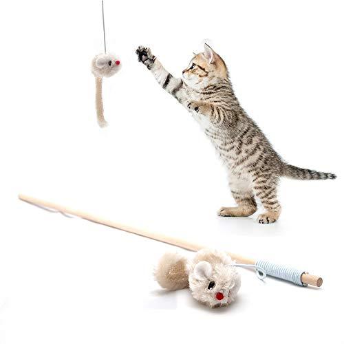 Spielangel - Katzenangel mit Maus aus Plüsch