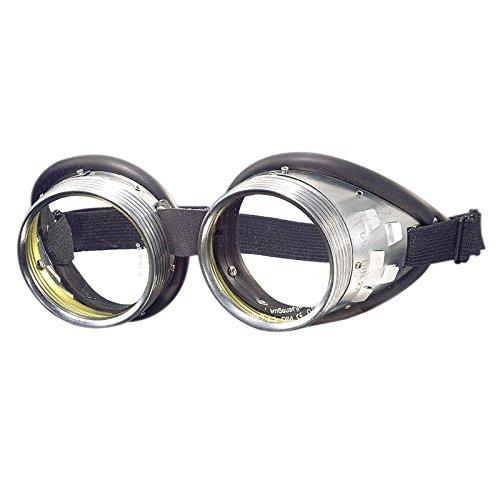 Schraubringbrille mit Schlauchgummipolster 50mm Glasdurchmesser, Gläser klar oder grün getönt DIN 4-6, Minion-Brille - Schutzbrille, Schweißerbrille, Schweißbrille, Schweißschutzbrille, Schutzstufe:klar (Kombiniert Kostüm)